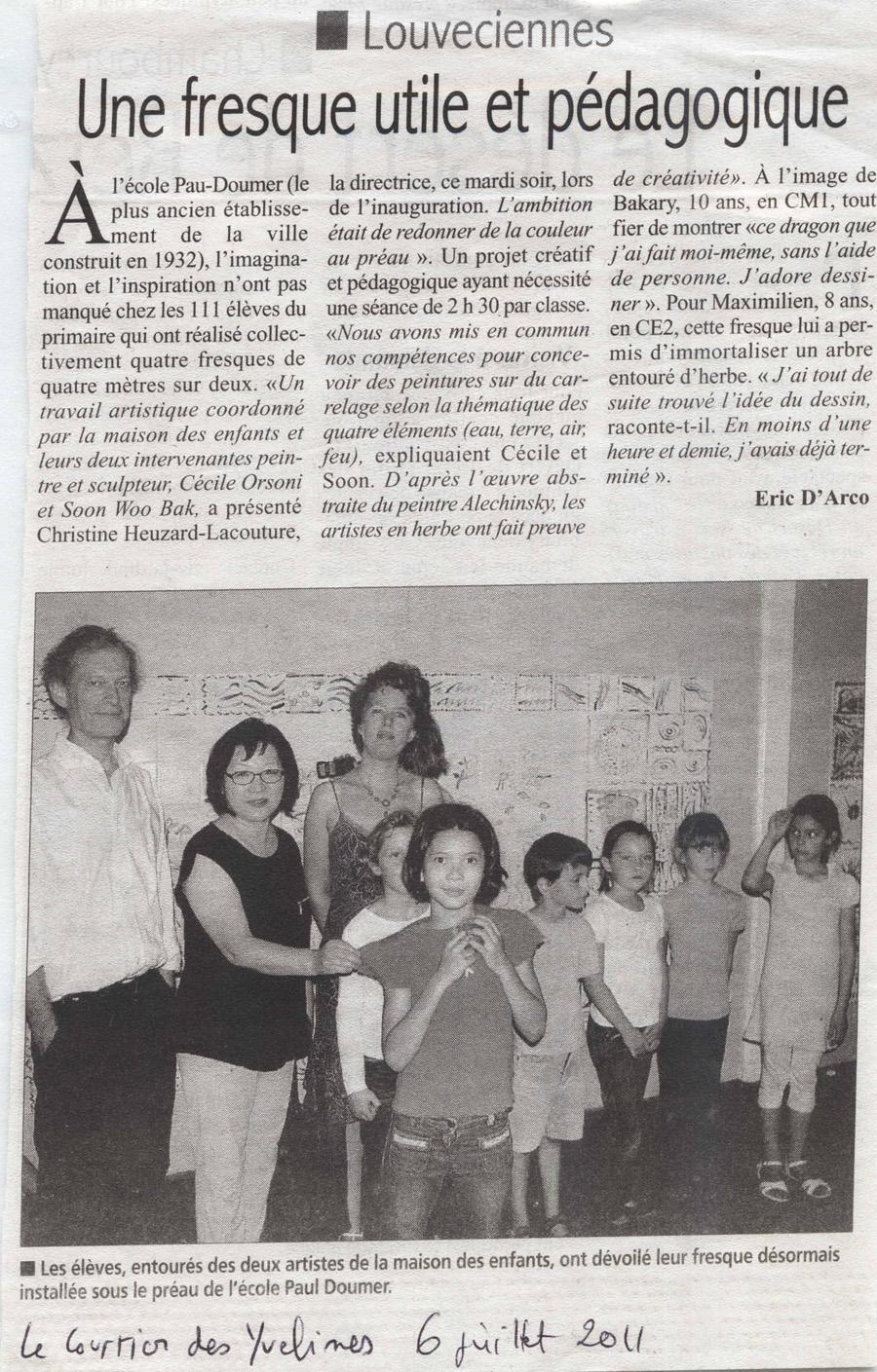 Intervention artistique ecole primaire, fresque en ceramique avec Cécile Orsoni