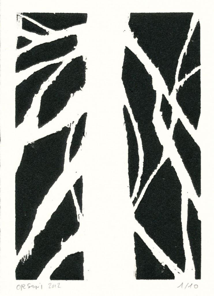 Gravure sur bois de Cécile Orsoni, sans titre