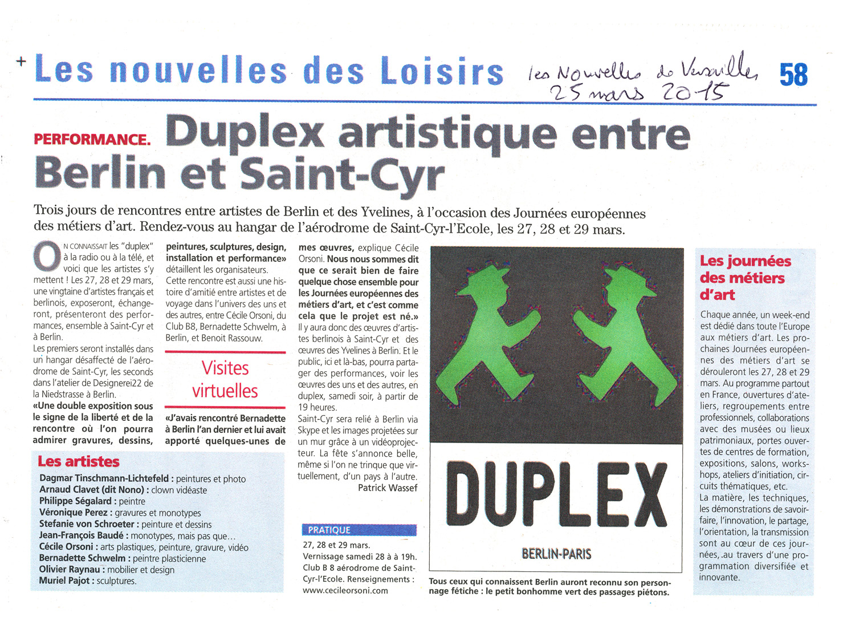 Exposition Duplex Journées européènnes des métiers d'art 2015