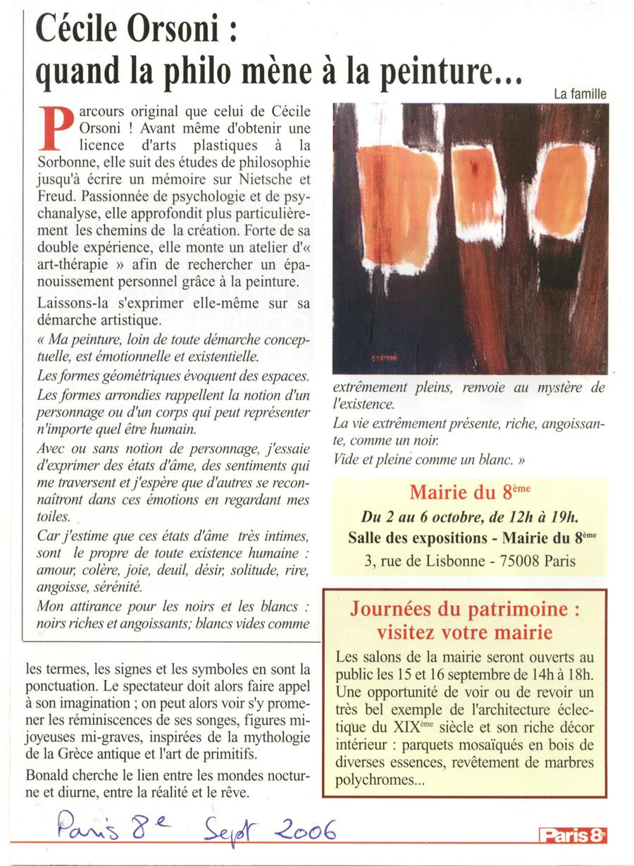 Exposition Cécile Orsoni, art contemporain, exposition mairie de Paris 75008, exposiiotn de peintures et gravures