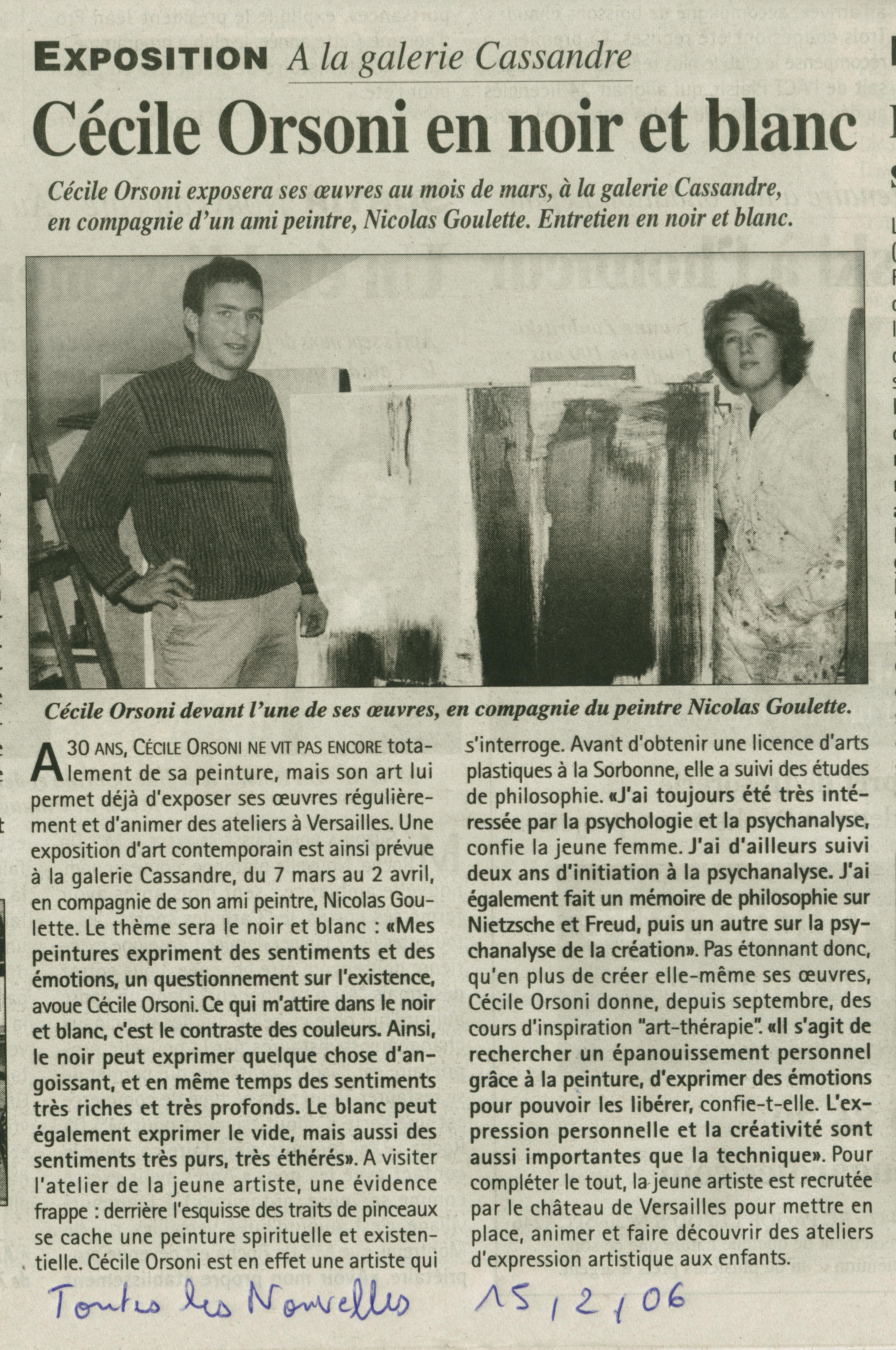 article sur Cécile Orsoni, gravures de Cécile Orsoni, exposiiton personnelle de Cécile Orsoni et N.Goulette, Galerie d'art, Versailles, art- contemporain