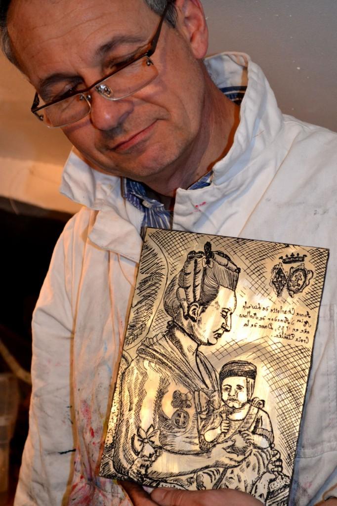 cours de gravure sur cuivre atelier Cécile Orsoni
