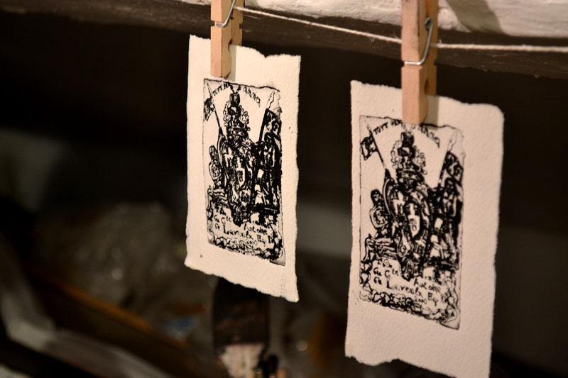 Cours de gravure et peinture atelier Cécile Orsoni, février 2014