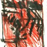 dessin, abstrait, encre de chine, croquis, rouge et noir