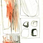 dessin, abstrait, crayon aquarelle, croquis, rouge